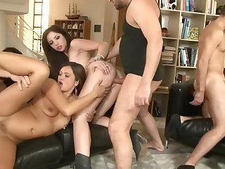 Big sex party with leggy whores