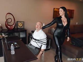 A man gets fucked by a sexy female burglar in black bodysuit