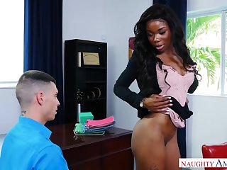 Black bossy bitch Mya Mays fucks a white guy at work & takes a cumshot