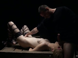 Hot emotional slender gal Joey Delrawr is fucked mish on the wooden table