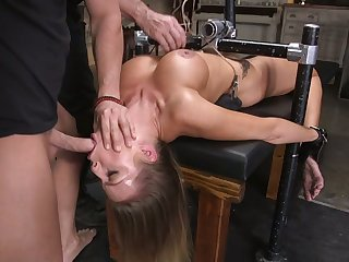 Tied up seductress Britney Amber is face fucked before hardcore pussy pounding