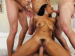 Black girl has four powerful phalluses in her possession