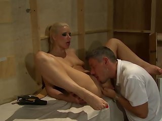 A sexy blonde with with short hair is getting fucked hard
