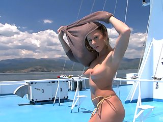 Blonde MILF babe Brooklyn Lee gets her face cum covered on a yacht