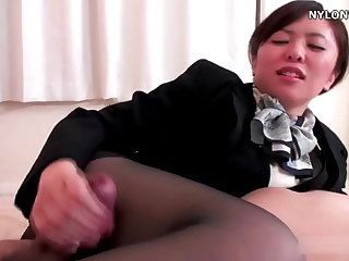nylon stockings attendant pantyhose footjob