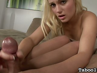 Svelte auburn leggy gal Charli Shiin surprises her new BF with a good footjob
