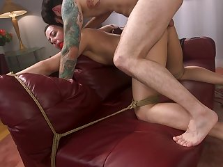 Stunning brunette Whitney Wright is tied on the bed waiting for hard fuck