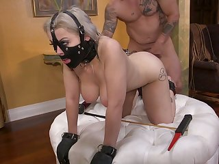 Wearing slave mask bondage whore Nadia White gets fucked doggy rough