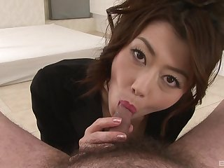 Japanese milf chokes with cock in wonderful POV