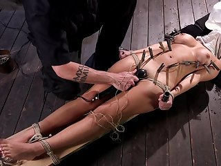 Hogtied Charlotte Cross suspended in the air and pussy shaved