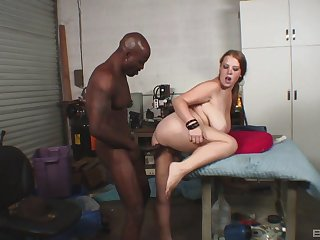 Black hunk suits this busty woman with the right hardcore