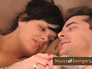 Swinger babes are scissoring and kissing each other!