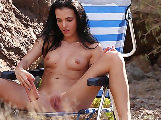 Sapphira gets naked and masturbates while a perv records her