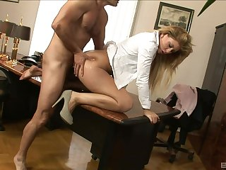 Amazing office lady gets banged by the boss and offered a big raise