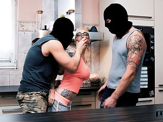 Masked burglars end up fucking both these hotties