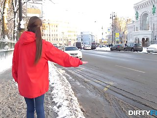 Cute Russian hitchhiker gets butt fucked by a stranger