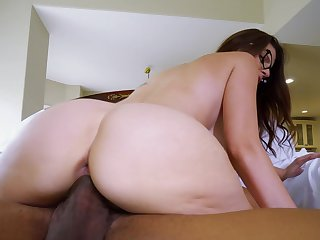 Nerdy chick soaks the BBC in both holes then swallows the spunk