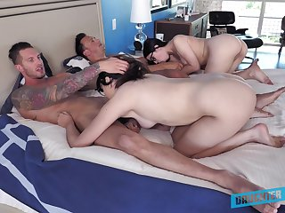 Hot amateur babes share and swap partners in perfect foursome