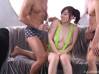 Asian slut Egami Shiino gets her pussy and ass poked by 2 guys