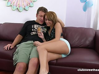 Hot babe creamed on tits after a good fuck on the casting couch