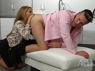 Horny wife Sofi Goldfinger gives a rimjob and rides cock anally