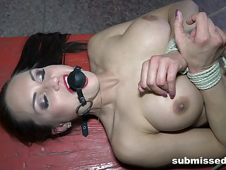 Busty slave girl Barbara tied up and tortured by a pervert