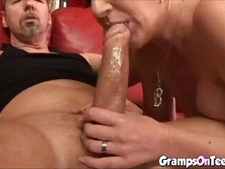 Horny Blonde Teen Deep Throats An Old Guy's Huge Schlong