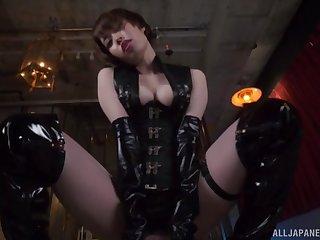 Kinky Japanese chick Kawana Misuzu in leather pleasures a dude