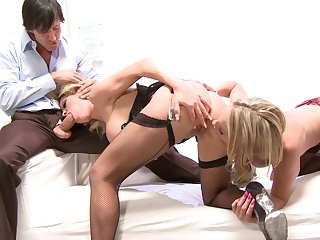 Blondes use same cock for their tight pussies and butt holes